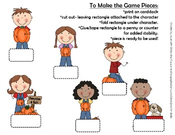 Playing In The Pumpkin Patch!  Editable Game board, Cards, Spinners & Pawns!