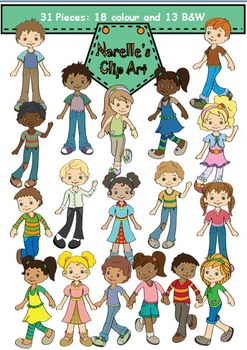 School Kids Clip Art with Blackline Masters - 31 Piece Download