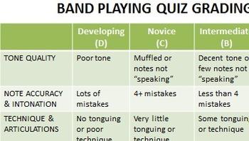 Playing Quiz Rubric
