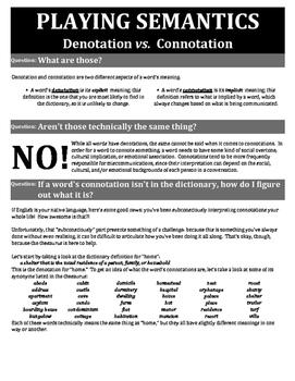 Playing Semantics: Connotation vs. Denotation