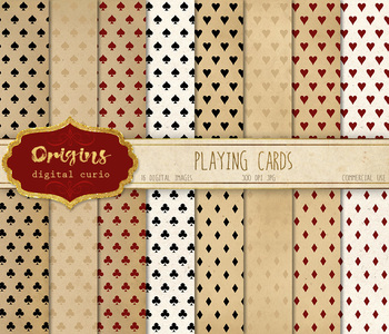 Playing cards digital paper, hearts clubs spades and diamonds backgrounds