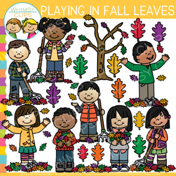 Playing in Fall Leaves Clip Art