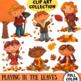 Playing in the Leaves Fall Clip Art Set