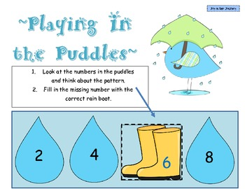 """Playing in the Puddles"" Skip Counting Task Cards"