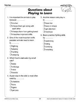 Playing to Learn (Life Science/Cats, Effects of Play)