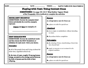 Context Clues Practice - Geography Alive: Chapter 12 (Latin America Rainforest)