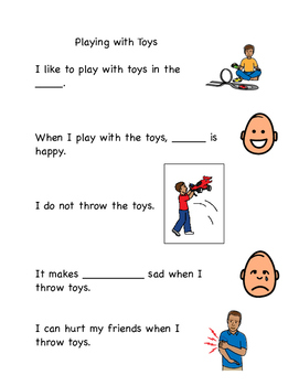 Playing with Toys/No Throw Social Story