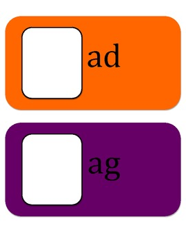 "Playing with Word Families ""ab"" ""ack"" ""ad"" ""ag"" ""ail"" ""ain"""
