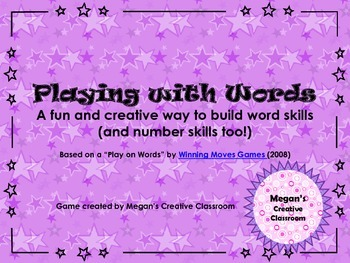 Playing with Words - No Tears Word Work Game with Number Skills