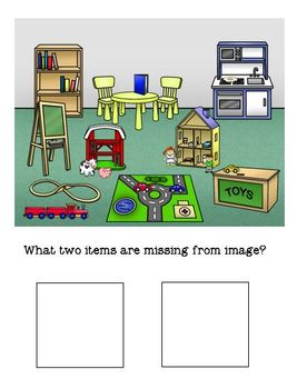 Playroom What's Missing Binder Matching and Worksheets