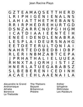 Plays by Jean Racine Wordsearch Puzzle Worksheet