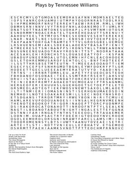 Plays by Tennessee Williams Word Search Puzzle Worksheet