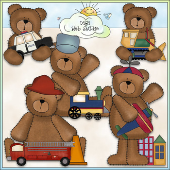 Playtime Bears - CU Colored Clip Art