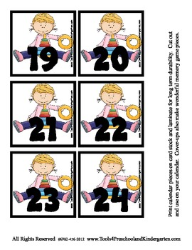 Playtime fun Calendar Memory Game Pieces - 3 coordinating designs Preschool