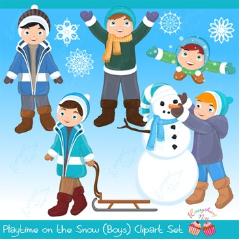 Playtime in the snow Boys Clipart Set
