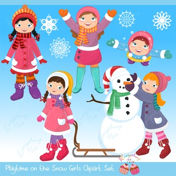 Playtime in the snow Girls Clipart Set