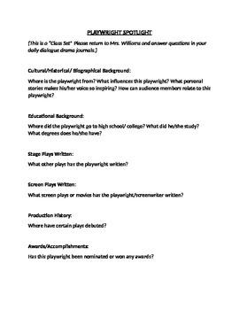 Playwright Spotlight Worksheet