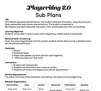 Playwriting 2.0 Sub Plan