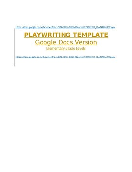 Playwriting Template - Google Docs Version - Elementary Grade Levels