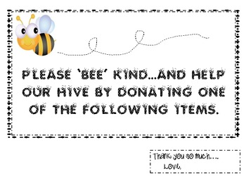 Please BEE Kind and donate supplies
