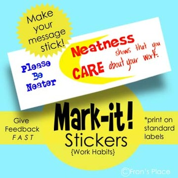 Printable Stickers. Remind Students About Work Habits, Print on Standard Labels