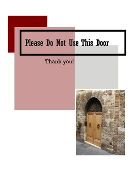 Please Do Not Use This Door Sign