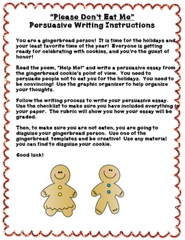 """Please Don't Eat Me!"" Persuasive Writing Unit & Gingerbread Craftivity"