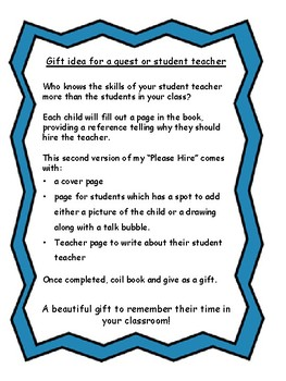 Please Hire with talk bubble - gift idea for student teacher