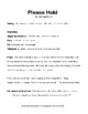 Please Hold Drama Theater Two Part Skit Script Middle High School Comedy