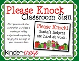 Please Knock Classroom Sign for Christmas