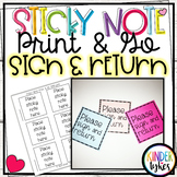Please Sign and Return: Sticky Note Print & Go Template