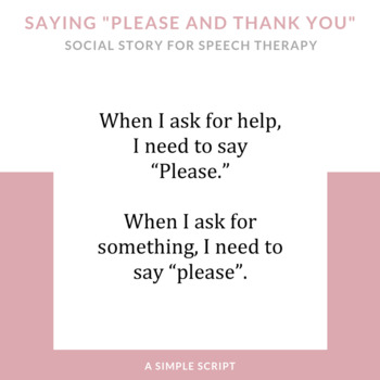 """Please and Thank You"" Social Story"