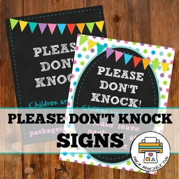 Please don't knock-Nap time door sign