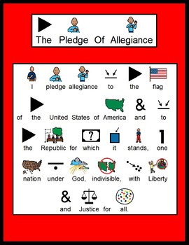 Pledge Of Allegiance Picture and Text Visual. FREE!