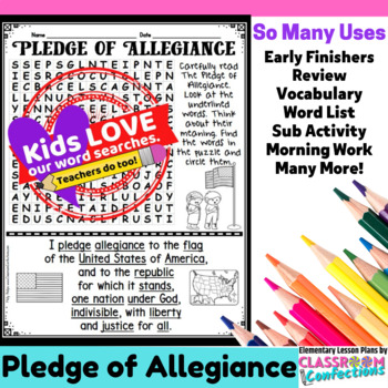Pledge of Allegiance Activity: Pledge of Allegiance Word Search