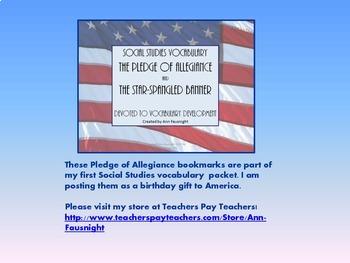 Pledge of Allegiance Bookmarks Freebie