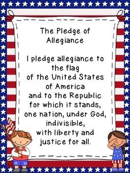 Pledge of Allegiance Classroom Poster FREEBIE!!