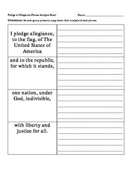 Pledge of Allegiance Close Reading Activity