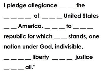 Pledge of Allegiance Cloze