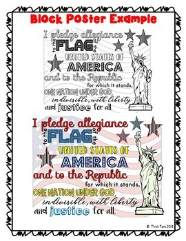 Pledge of Allegiance Collaborative Poster!  Back to School - Team Work Activity