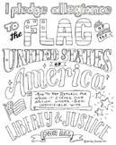 Pledge of Allegiance Coloring Page, Declaration of Independence Page Bundle