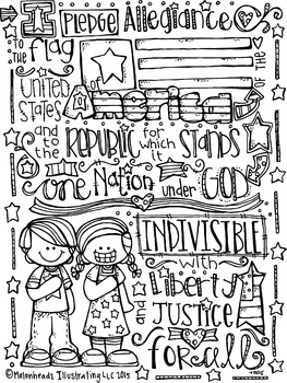 Pledge of Allegiance Coloring page freebie - by Melonheadz