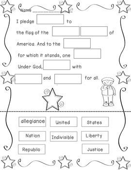 Pledge of Allegiance Cut/Paste-FREEBIE!