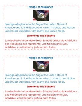 Pledge of Allegiance English and Spanish