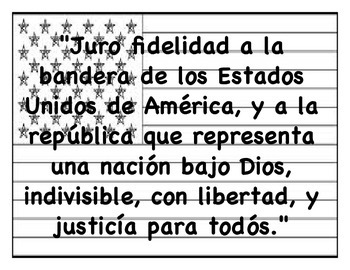 graphic regarding Pledge of Allegiance in Spanish Printable called Pledge of Allegiance (English/Spanish)