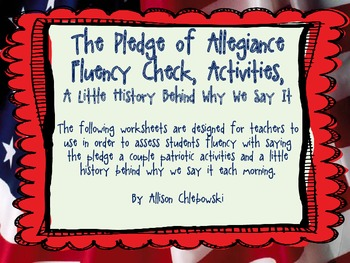Pledge of Allegiance Fluency, Writing Activities, & More!