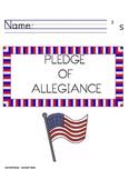 Pledge of Allegiance Handwriting Worksheet Packet MANUSCRIPT