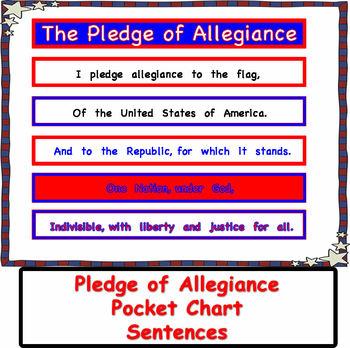 Pledge of Allegiance Pocket Chart Sentences