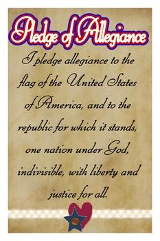 "Pledge of Allegiance Poster 12""x18"" Americana Style"