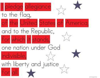 Pledge of Allegiance Poster - Beginning Reader Friendly